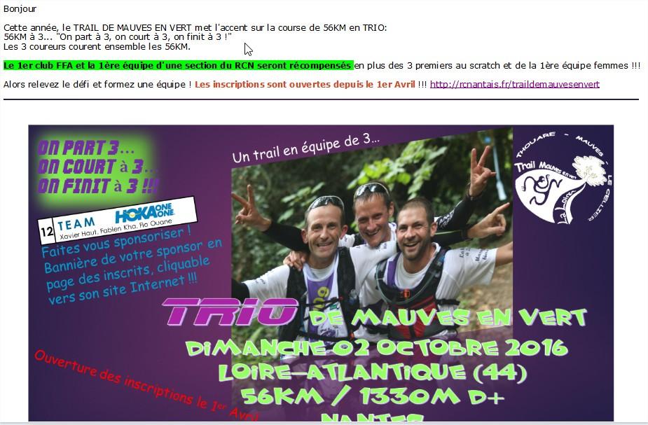 Trail de mauves en vert 2016 quel club ffa gagnera le challenge en trio
